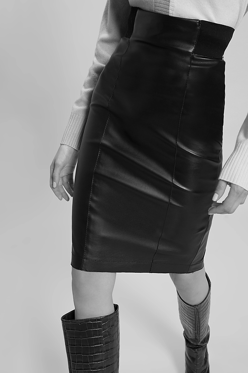 Leatherette Pencil Skirt