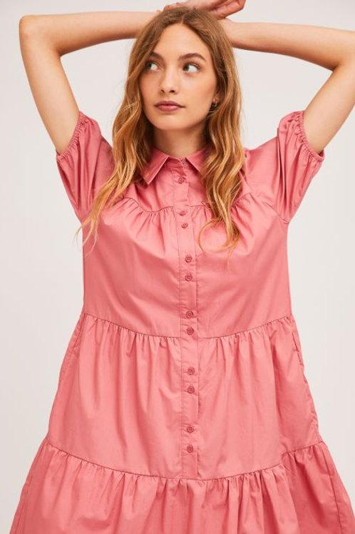 Pink A Line Shirt Dress