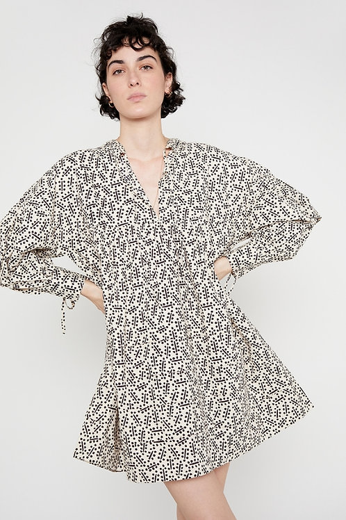 Black Micro Print Oversized Dress