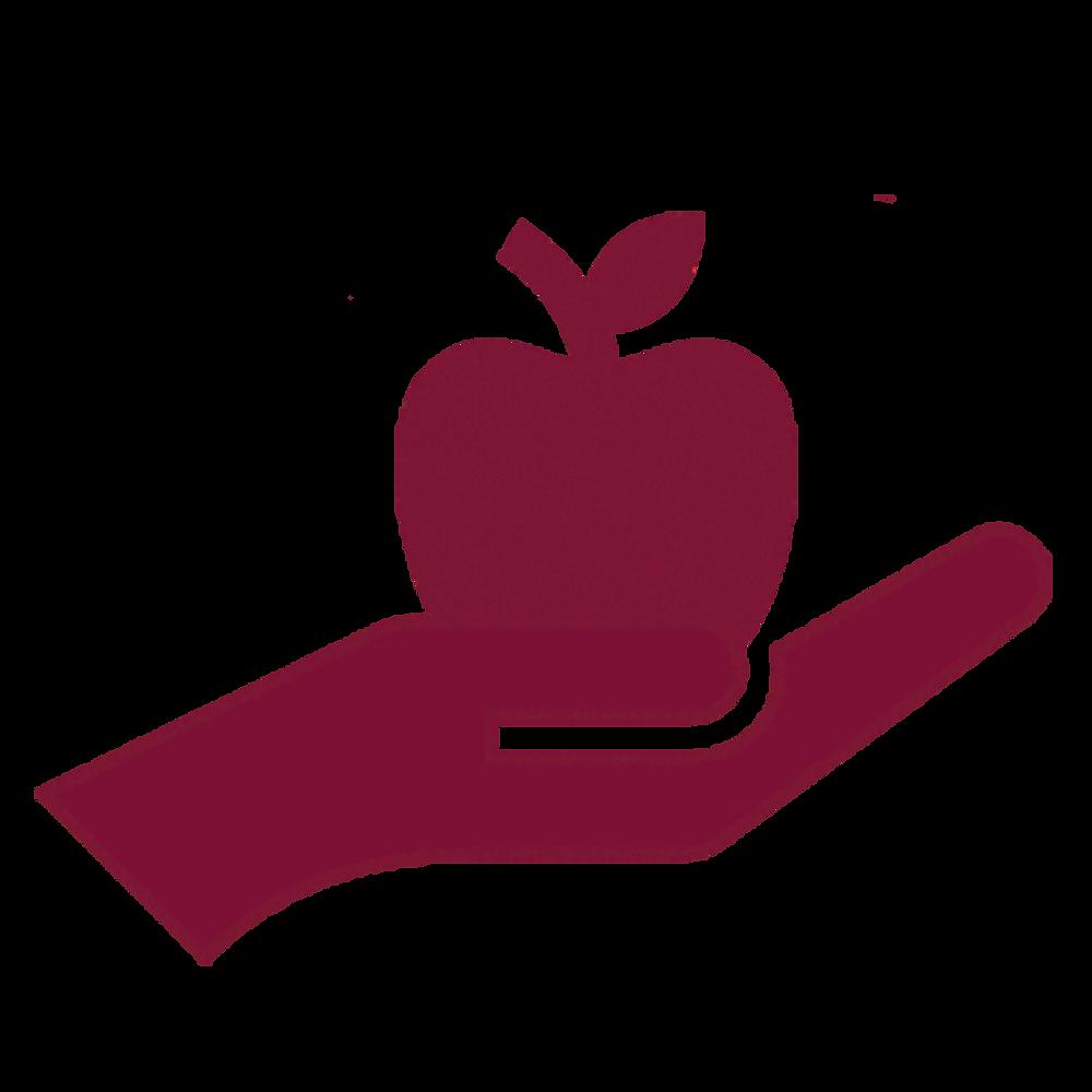 imagem de uma mão estendida entregando uma maçã (um desenho, não imagem real)