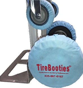 LWT TireBooties on a hand truck