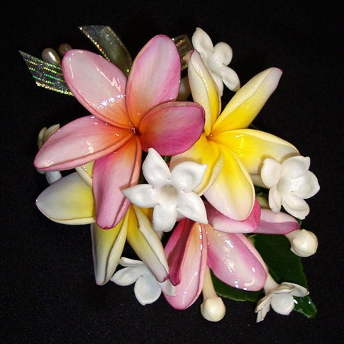 tropical corsage featuring stephanotis and plumeria blossoms, September 2012