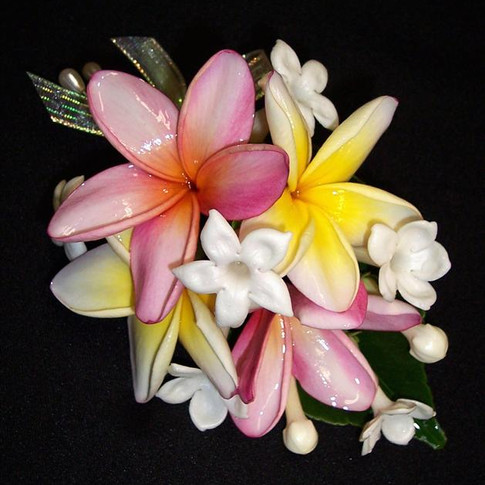 tropical corsage featuring stephanotis and plumeria blossoms, September 2012