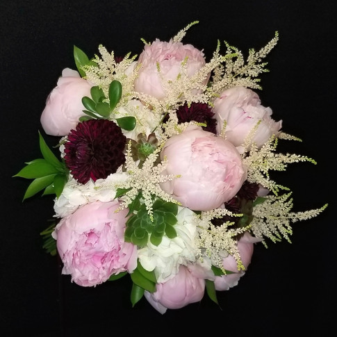 blush, burgundy and ivory bouquet featuring peonies, dahlias, astilbes, succulents