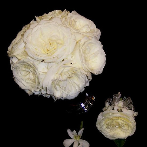 Alabaster garden rose bouquet with matching orchid boutonniere, corsage