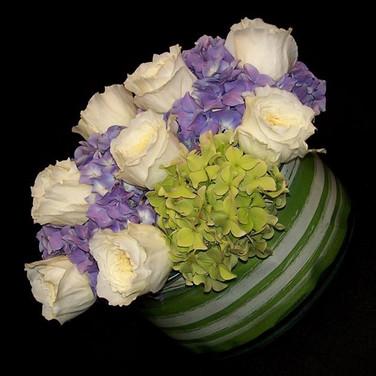 David Austin Patience rose and hydrangea arrangement, June 2014