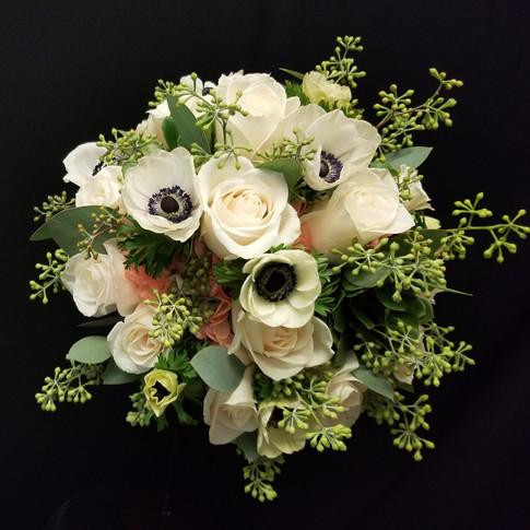 mixed bouquet: white anemone, ivory rose, hydrangea, succulent, seeded eucalyptus
