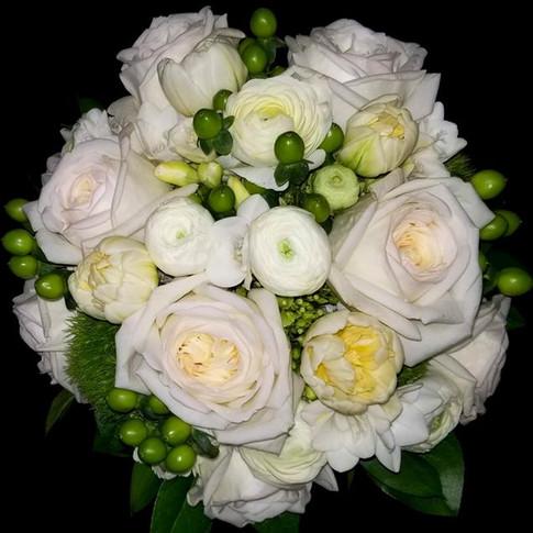 organic bouquet: garden roses, ranunculi, freesias, tulips, hypericum berries, green hydrangeas, green dianthus, lemon leaves