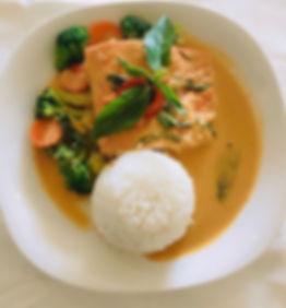 Salmon curry (wild-caught salmon) and ri