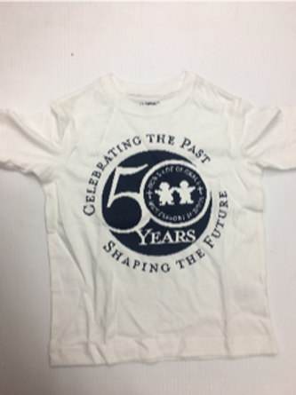 50th Anniversary Boys Short Sleeve T-Shirt - WHITE/NAVY LOGO