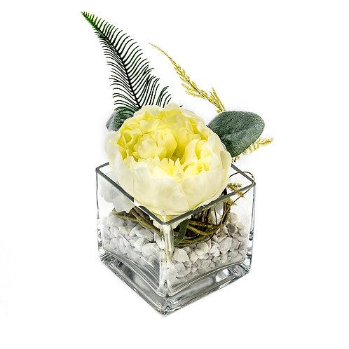Green deco green/white in glass vase
