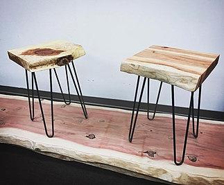 Redwood Live Edge Side Tables On Hairpins #STATUSWOOD #redwoodslab # Sidetable #hairpinlegs #