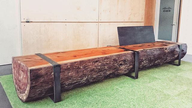 REDWOOD LOG BENCH/ MODERN STYLE