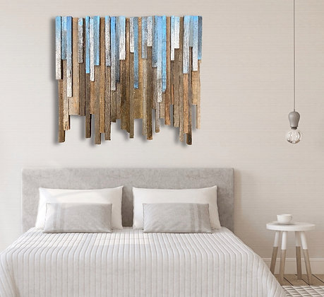 Melting Ice Reclaimed Rustic wood wall Art panel