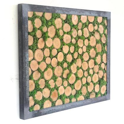 Moss and cross cuts wall art