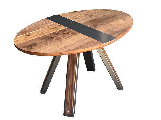 Oval walnut and industrial steel dining table