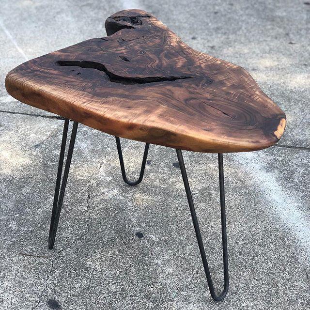 Walnut slab side table #statuswood #wood