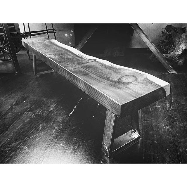 redwood slab bench