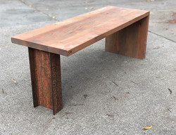 reclaimed wood + rustic I beam bench #s