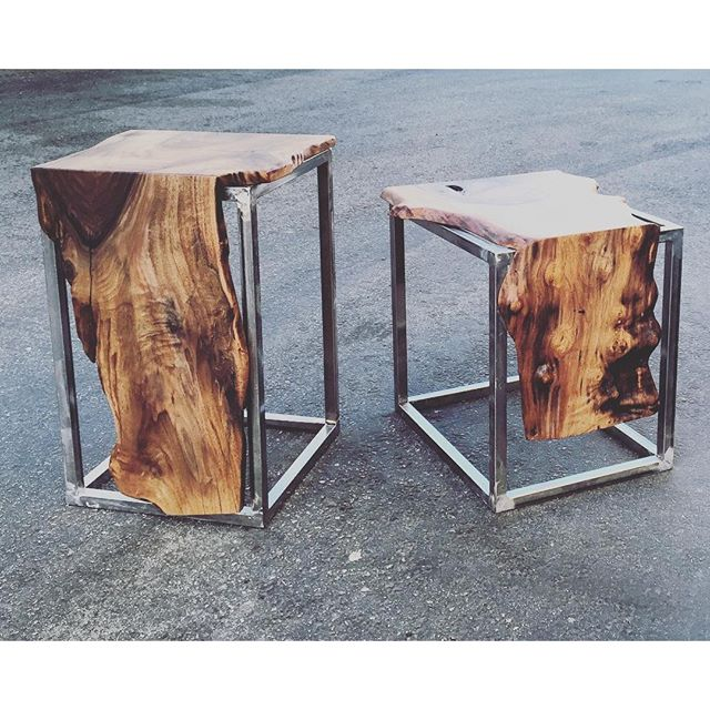 Unique walnut side tables by STATUSWOOD #statuswood #tabledesign #liveedge #walnut #table #sidetable