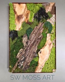 #statuswood #mossart #wallart #walldecor #greendesign #creativedecor #homedecor #woodart #custommade