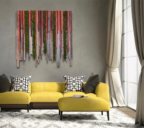 Sunset Hanging Garden Modern Reclaimed Wood and Moss Wall Art
