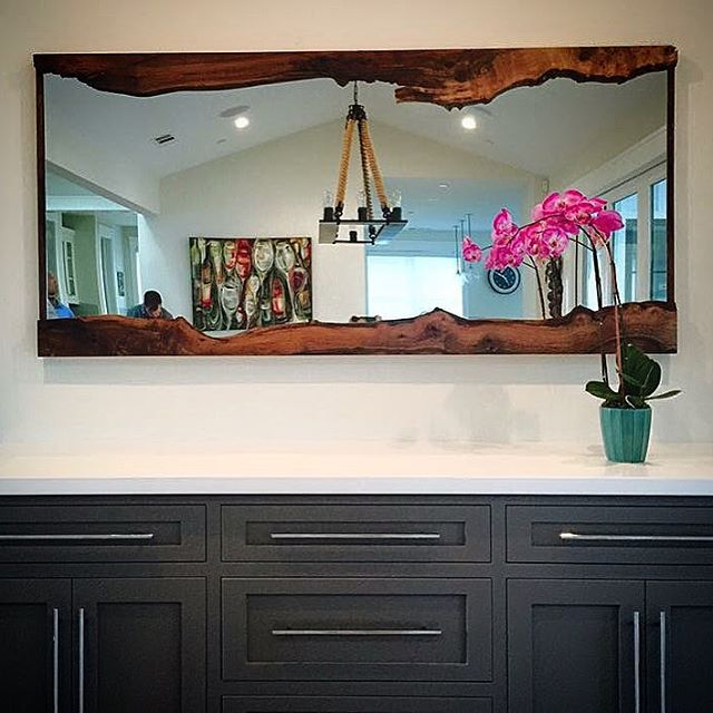 LIVE EDGE FRAMED MIRROR/ WALNUT