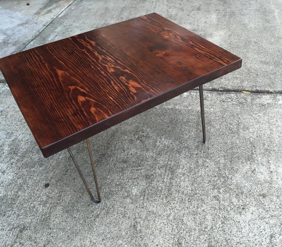 Coffee table on hairpin legs