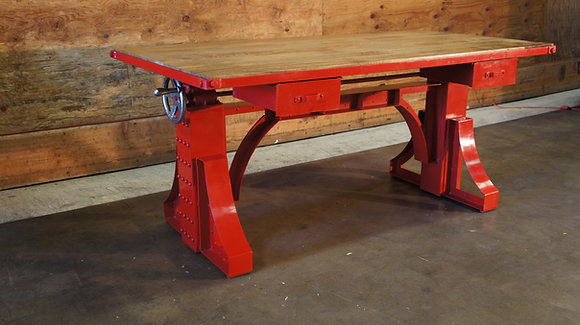 RED Crank Desk with Drawers