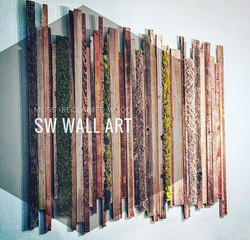 Reclaimed wood (sustainable choice) + preserved moss (maintenance free) = SW Green Art