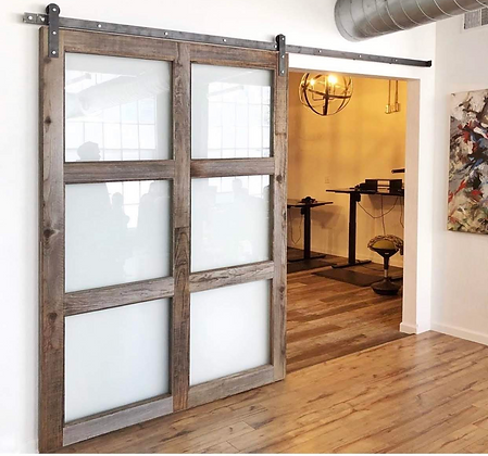 Barn Door with glass inserts