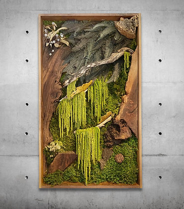 Hanging Jungle Moss and walnut wood wall art