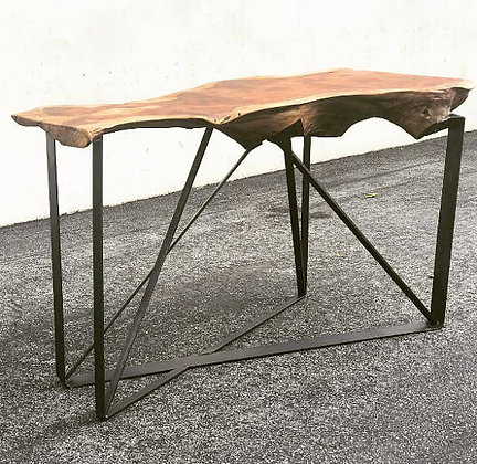 Redwood Slab Console on Metal Ribbon Base