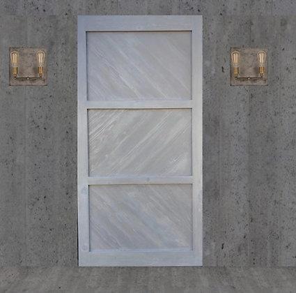 white washed 3-panel Barn Door