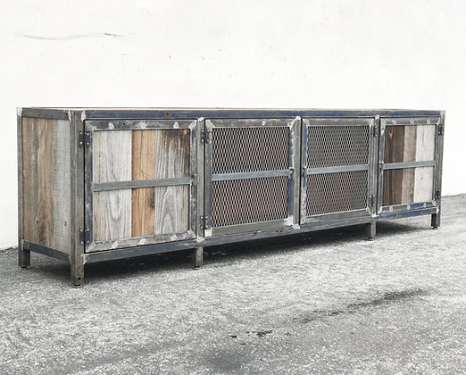 Metal and Reclaimed Rustic wood TV Cabinet