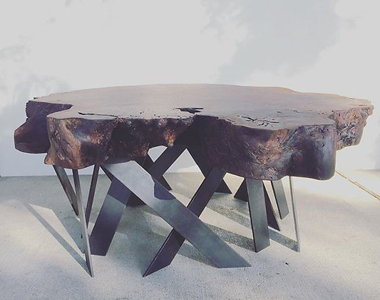 Walnut cross cut solid slab coffee table