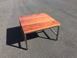 Reclaimed redwood on steel