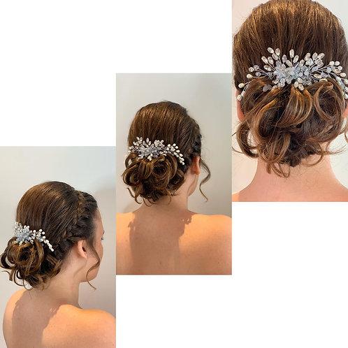 Simsly Bride Crystal Wedding Hair Comb Slides Silver Bridal Headpiece Hair Acces