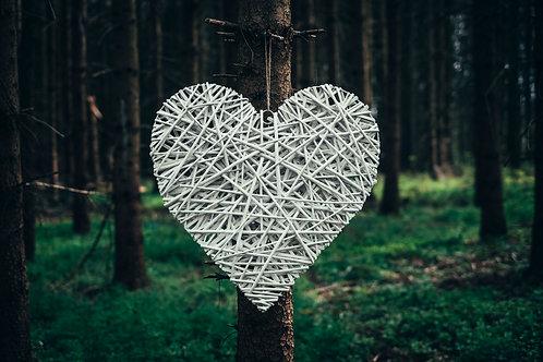 Velké srdce z proutí bílé
