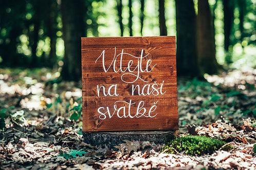 Uvítací tabule - hnědé dřevo