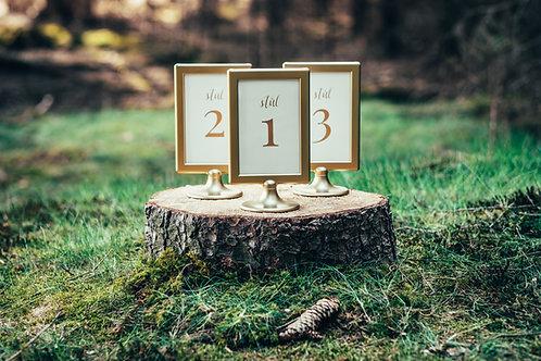 Stojánek s číslem stolu zlatý