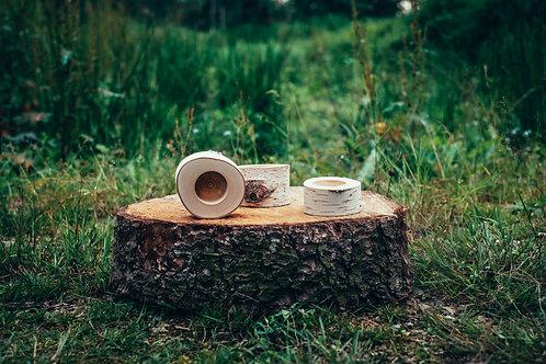 Březový svícen na čajovou svíčku