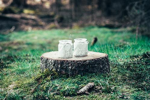 Svícen na čajovou svíčku bílo-šedý