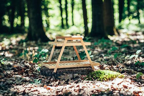 Dřevěný stojan dvoupatrový přírodní