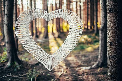 Velké oplétané srdce bílé