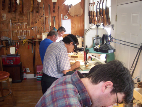 Four Violin Making Students