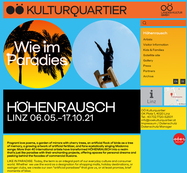 """Flamingo One Arch part of the group exhibition """"Like in Paradise"""" at Höhenrausch Art Center in Linz."""