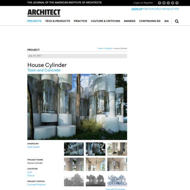 Architect Magazine published House Cylinder