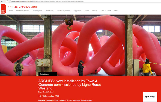 Installation Arches in London Design Festival 2018, commisioned by Ligne Roset Westend