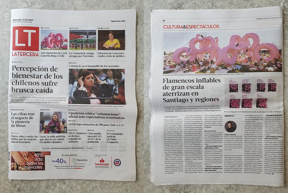 """""""Flamingo Arches"""" in local newspaper La Tercera."""